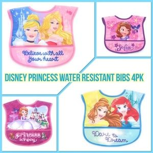 4Pk Disney Princess Water Resistance Bibs